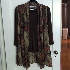 Susan Graver top & sheer duster vest set- EUC
